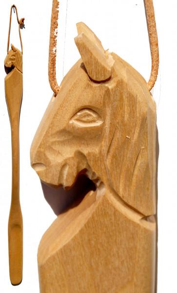 Schuhlöffel mit geschnitztem Pferdekopf