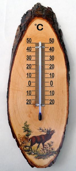 Thermometer 35 cm aus Erle mit Rinde. …